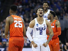 Duke guard Gary Trent Jr. (2) celebrates a Syracuse turnover before Syracuse guard Tyus Battle (25) during the second half, Friday, March 23, 2018 at CenturyLink Center in Omaha, Neb.