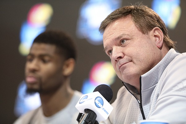 Kansas head coach Bill Self listens to a question during a press conference on Saturday, March 24, 2018 at CenturyLink Center in Omaha, Neb.