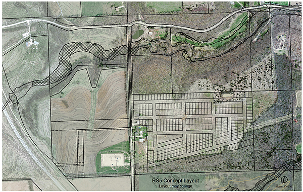 A proposed concept plan for a new housing development north of Rock Chalk Park. Courtesy: City of Lawrence