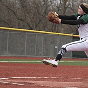 Free State freshman Tatum Clopton delivers a pitch during the Firebirds' 12-0 win over Shawnee Mission North on Thursday at FSHS. Clopton struck out 10 over five innings, and held the Indians to one hit.