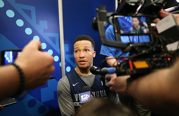 Villanova guard Jalen Brunson (1) talks with media members on Thursday, March 29, 2018 at the Alamodome in San Antonio, Texas.