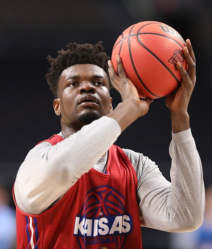 Kansas center Udoka Azubuike puts up a shot on Friday, March 30, 2018 at the Alamodome in San Antonio, Texas.