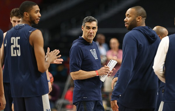 Villanova head coach Jay Wright watches over his practice on Friday, March 30, 2018 at the Alamodome in San Antonio, Texas.