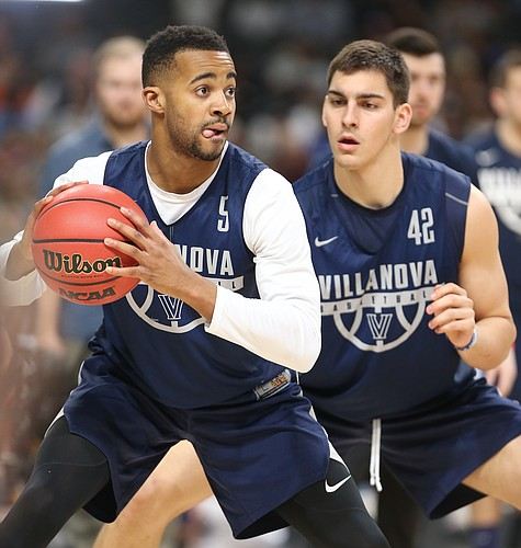 Villanova guard Phil Booth (5) looks to make a move against Villanova forward Dylan Painter (42) during a practice on Friday, March 30, 2018 at the Alamodome in San Antonio, Texas.