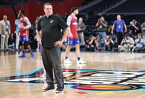 Kansas head coach Bill Self watches over the Jayhawks' practice on Friday, March 30, 2018 at the Alamodome in San Antonio, Texas.