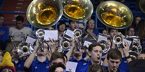 Members of the KU band perform a song at Allen Fieldhouse on Saturday, March 31, 2018. The Kansas basketball team's game against Villanova was played on the video board. KU lost to Villanova, 95-79.