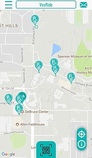 This screenshot shows the VeoRide app's map of all locations on the University of Kansas campus where bike-share bikes will be safely stored or picked up for a ride.