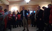 Former Rep. Paul Davis, D-Lawrence, who is now a candidate for the 2nd District congressional seat, speaks to teachers rallying at the Statehouse urging passage of a five-year, $500 milllion increase in K-12 education funding on Saturday, April 7, 2018.