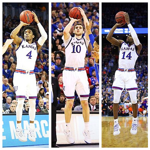 Outgoing Jayhawks, from left to right, Devonte' Graham, Svi Mykhailiuk and Malik Newman during the 2017-18 season teamed with Lagerald Vick and others to set a school record with 391 3-pointers, shattering the old mark of 218. With those four players leaving Lawrence in the offseason, KU coach Bill Self will be seeking to replace a whopping 94.4 percent of his 3-point makes with an almost entirely new crew of guards in 2018-19.