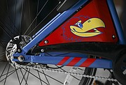 All of the 180 bikes designed by VeoRide are customized in KU colors and with KU logos, shown here on Monday, April 9, 2018.