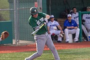 Free State player Jake Rittman (7) winds up for a hit early in the 4th inning on Thursday, April 12, 2018. Free State beat Gardner Edgerton, 3-1.