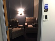 """The """"Trauma Informed Interview Room"""" at the University of Kansas Office of Public Safety is pictured Friday, May 4, 2018. One of two interview rooms at KU police headquarters, it was renovated this spring with victims in mind and is located next to the traditional interview room."""
