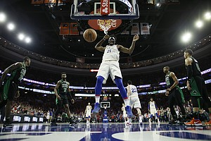 Philadelphia 76ers' Joel Embiid in action during Game 4 of an NBA basketball second-round playoff series against the Boston Celtics, Monday, May 7, 2018, in Philadelphia. (AP Photo/Matt Slocum)