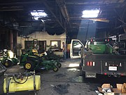 The interior of Heritage Tractor, 1110 E. 23rd St., is pictured Monday, May 7, 2018, two days after being heavily damaged by fire.