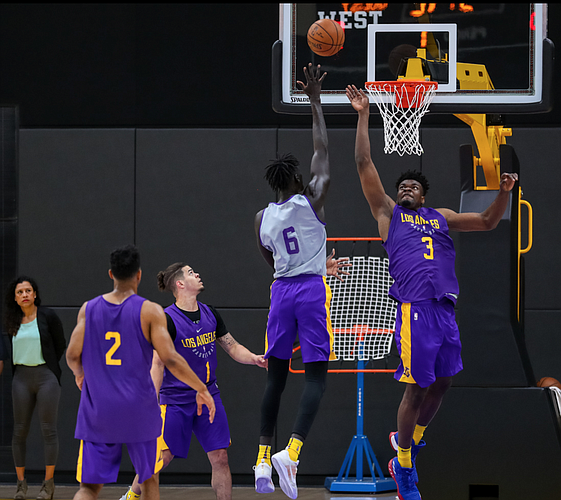 Udoka Azubuike participates in 3-on-3 scrimmages at the Los Angeles Lakers pre-draft workout in El Segundo, Calif. (Photo by Ty Nowell, Los Angeles Lakers/nba.com)