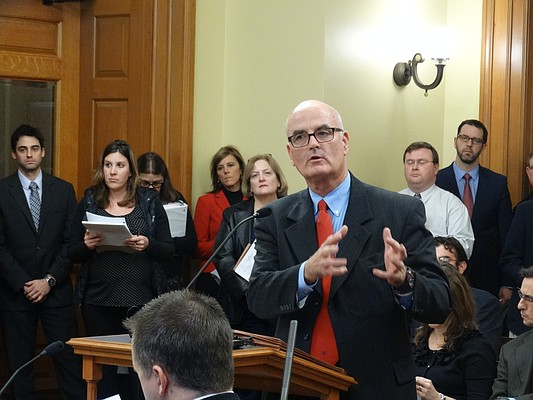In this file photo from December 2015, Rep. Jim Ward, D-Wichita, speaks to a legislative committee at the Statehouse in Topeka.