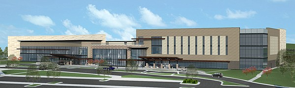 A more expansive look at the main entrance to the proposed outpatient medical building. Courtesy: Pulse Design Group