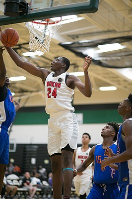 Dante N'Faly, a 6-foot-11, 225-pound center, from the Class of 2020, already has been offered scholarships by Kansas and Kentucky. (Photo by Darryl Woods/810 Varsity)