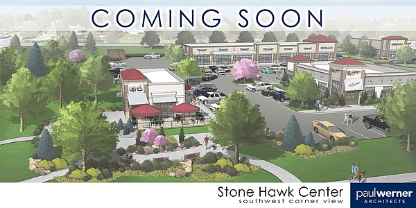 This rendering shows the plans for a proposed retail development at Clinton Parkway and Inverness Drive.