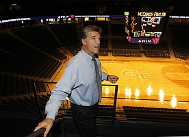 Georgia Tech athletic director Dan Radakovich discusses the newly-renovated McCamish Pavilion, formerley Alexander Coliseum, is shown, Tuesday Sept. 18, 2012 in Atlanta. Tech spent $50 million to update and renovated the basketball arena. (AP Photo/John Bazemore)