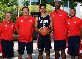 The U18 USA Basketball men's national team has a distinct KU flavor to it this year. Shown here, from left to right, are KU & Team USA trainer Bill Cowgill, KU & Team USA coach Bill Self, KU freshman Quentin Grimes, former KU standout and current Team USA assistant coach Danny Manning and current KU & Team USA video director Jeremy Case. (Photo courtesy Bart Young/USA Basketball)