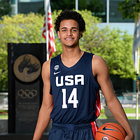 Class of 2019 power forward Jeremiah Robinson-Earl, a Bishop Miege standout who recently made the U18 Men's National Team roster. (Photo courtesy Bart Young/USA Basketball)