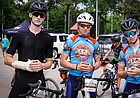 Charles Hughes, Henry Nelson and Will Shultz (left to right) pose for a photo at the Dirty Kanza in Emporia on June 2, 2018. All three riders finished in the top four of the freshmen/sophomore division during the first high school race of the event.