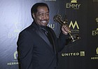 """James Reynolds, who was born in Oskaloosa, poses with the award for outstanding lead actor in a drama series for """"Days of Our Lives"""" at the 45th annual Daytime Emmy Awards at the Pasadena Civic Center on Sunday, April 29, 2018, in Pasadena, Calif."""