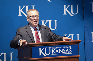New University of Kansas athletic director Jeff Long addresses those gathered for his introductory news conference on Wednesday, July 11, 2018 at the Lied Center Pavilion.