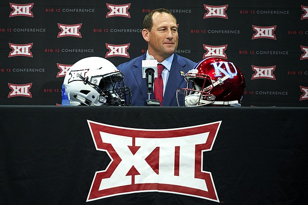 Kansas football head coach David Beaty speaks during NCAA college football Big 12 media days in Frisco, Texas, Monday, July 16, 2018. (AP Photo/Cooper Neill)