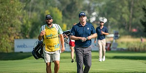 Chris Thompson and caddie Chevy Hartzog, working together for the past two months, proved to be a winning combination. Thompson was presented with a 2018-19 PGA Tour card Sunday night after the final round of the WinCo Foods Portland Open Sunday, Aug. 19, 2018, at Pumpkin Ridge.