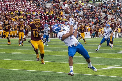 Kansas senior receiver Kerr Johnson Jr. catches a touchdown pass during the first half against Central Michigan on Saturday, Sept. 8, 2018 at Kelly/Shorts Stadium in Mount Pleasant, Mich.