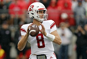In this Saturday, Sept. 8, 2018, file photo, Rutgers quarterback Artur Sitkowski drops back to pass against Ohio State during the first half of an NCAA college football game in Columbus, Ohio. Kansas will be trying for back-to-back wins for the first time since 2011 when the Jayhawks face Rutgers on Saturday. The Scarlet Knights will be trying for a bounce-back win after getting trounced by fourth-ranked Ohio State last week. (AP Photo/Jay LaPrete, File)