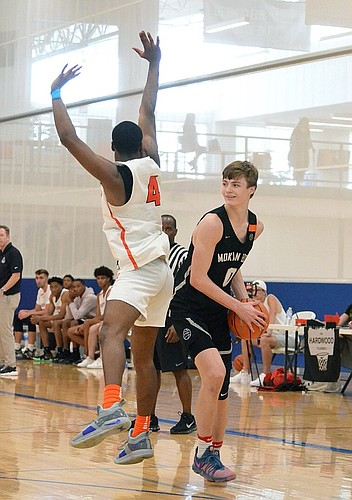 Blue Valley Northwest senior Christian Braun, who orally committed to KU on Monday, is shown here during an AAU event in Lawrence this summer with MOKAN Elite.