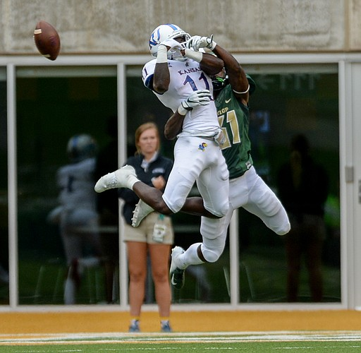 Baylor cornerback Harrison Hand (31) breaks the pass intended for Kansas wide receiver Steven Sims Jr. (11) during the second half of an NCAA college football game, Saturday, Sept. 22, 2018, in Waco, Texas. (Ernesto Garcia/Waco Tribune Herald)