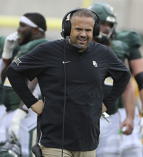 Baylor head coach Matt Rhule looks to an official during the first half of an NCAA college football game against Kansas, Saturday, Sept. 22, 2018, in Waco, Texas.