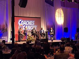 Local college coaches, from left to right, Bruce Weber (Kansas State), Cuonzo Martin (Missouri), Kareem Richardson (UMKC) and Bill Self (Kansas), join host Nate Bukaty (far left) for a basketball round table of laughs and stories at Thursday's Coaches vs. Cancer event at the Grand Ballroom at Bartle Hall in Kansas City, Mo.