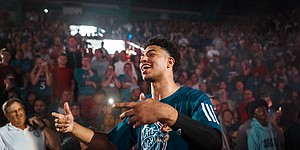 Freshman guard Quentin Grimes enters the field house at Late Night in the Phog on Friday, Sept. 28, 2018 at Allen Fieldhouse.