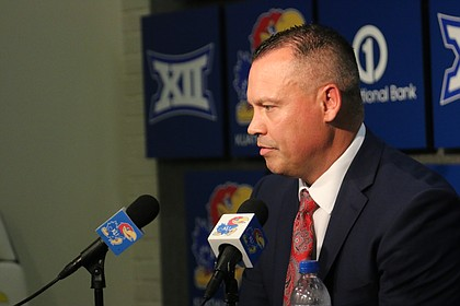 University of Kansas women's basketball head coach Brandon Schneider answers questions during his teams annual media day on Wednesday, Oct. 3.