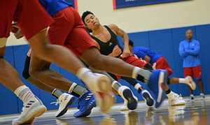KU freshman Devon Dotson turns with the rest of the Jayhawks during sprints at this year's boot camp. (Photo courtesy @KUHoops)