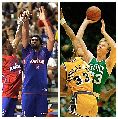 While not comparing the two completely as basketball players, KU coach Bill Self recently said there was one area of the game where Kansas junior Dedric Lawson, left, reminded him a little of his all-time favorite, former Boston Celtics legend Larry Bird. (AP and J-W Staff Photos)