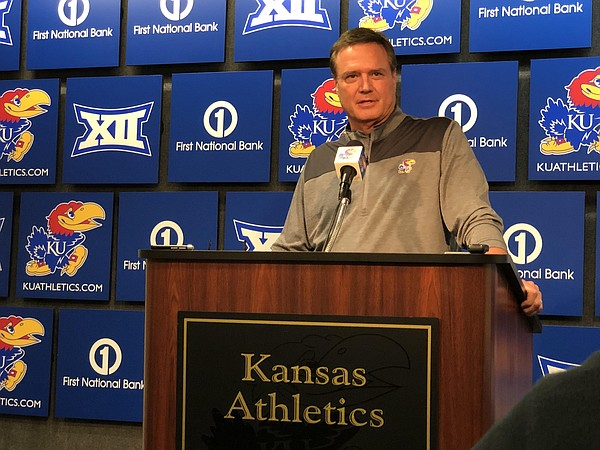 Kansas basketball coach Bill Self speaks during a news conference on Wednesday, Oct. 24, 2018 at Allen Fieldhouse. (Photo by Dylan Lysen)
