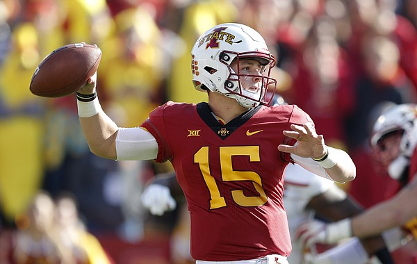 Iowa State quarterback Brock Purdy looks to pass during the first half of an NCAA college football game against Texas Tech, Saturday, Oct. 27, 2018, in Ames, Iowa. (AP Photo/Charlie Neibergall)