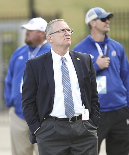 6a75a4673f27b Kansas athletic director Jeff Long looks up into the stands late in the  fourth quarter of