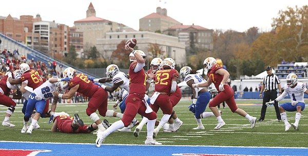 Iowa State quarterback Brock Purdy (15) finds a receiver to give the Cyclones some breathing room during the first quarter, Saturday, Nov. 3, 2018 at Memorial Stadium.