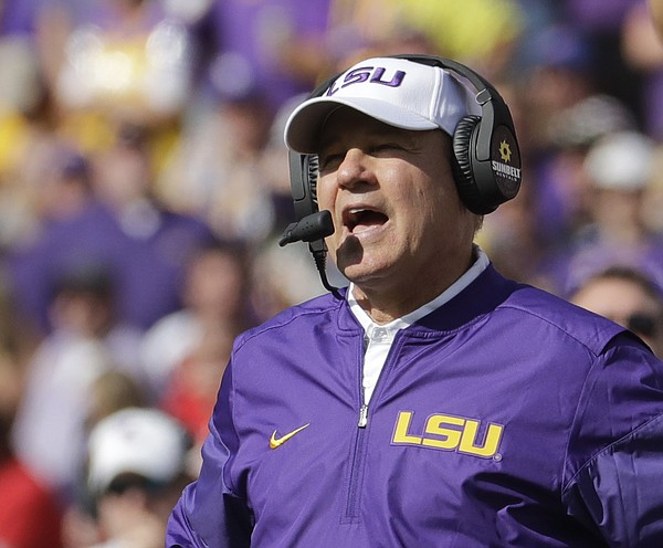 FILE — Former LSU head coach Les Miles watches during the first half of an NCAA college football game against Wisconsin Saturday, Sept. 3, 2016, in Green Bay, Wis. (AP Photo/Morry Gash)