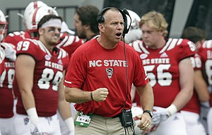 FILE - In this Oct. 6, 2018, file photo, North Carolina State head coach Dave Doeren reacts during the second half an NCAA college football game against Boston College, in Raleigh, N.C. The Wolfpack are coming off consecutive losses to Clemson and Syracuse entering Saturday's game against Florida State. (AP Photo/Gerry Broome, File)
