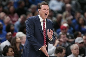 Kansas coach Bill Self yells during the first half of the team's NCAA college basketball game against Michigan State at the Champions Classic on Tuesday, Nov. 6, 2018, in Indianapolis. Kansas won, 92-87.