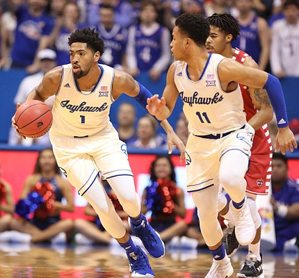 Kansas forward Dedric Lawson (1) comes away with a steal during the first half, Friday, Nov. 16, 2018 at Allen Fieldhouse.
