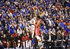 Kansas guard Lagerald Vick (24) puts up a three over Louisiana forward Malik Marquetti (1) during the first half, Friday, Nov. 16, 2018 at Allen Fieldhouse.